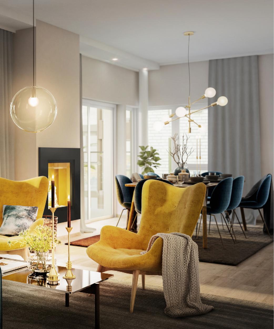 Moderne stue og kjøkken i seniorleiligheter i Oslo